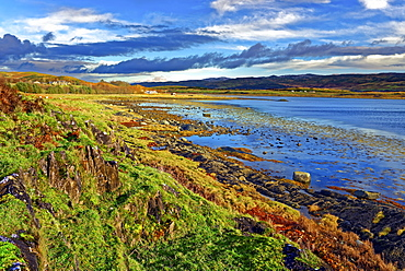 A view across the remote Loch Na Cille at low tide in the Scottish Highlands, Scotland, United Kingdom, Europe - 1246-46
