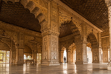 A cleaner mopping the floor at The Red Fort, UNESCO World Heritage Site, Old Delhi, India, Asia