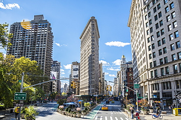 The Flatiron building in New York City. United States of America, North America