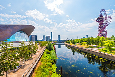 Views of Orbitz and London Aquatic Centre over Three Mills River, Queen Elizabeth Park, Stratford, London, England, United Kingdom, Europe