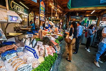 Borough Market bustling with shoppers, Southwark, London Bridge, London, England, United Kingdom, Europe
