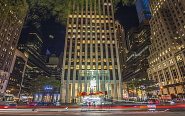 Light streaks at the Apple Store, New York City, United States of America, North America