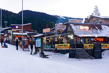 Borovets Ski Resort, bars and eateries at the bottom of the ski hill, Bulgaria, Europe