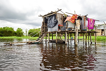 Wooden house on stilts in a flooded area of Iquitos, Peru, South America