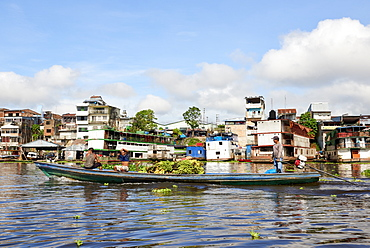 Salesmen transporting a load of bananas on riverboat in Nanay River, with city of Iquitos, in the background, Peru, South America