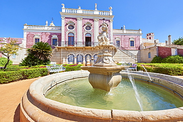 Water fountain at the entrance to Estoi Palace, in the Algarve, Portugal, Europe - 1248-71
