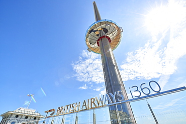 Low angle shot of British Airways' i360 viewing tower in Brighton, Sussex, England, United Kingdom, Europe