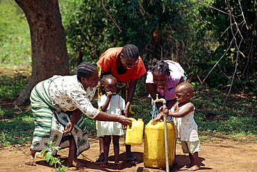 Community water project tap, Taveta District, Kenya, East Africa, Africa