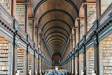 Long Room interior, Old Library building, Trinity College, Dublin, Republic of Ireland, Europe