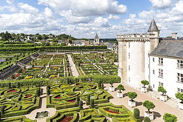 The gardens of Villandry castle from above, Villandry, UNESCO World Heritage Site, Indre-et-Loire, Loire Valley, France, Europe