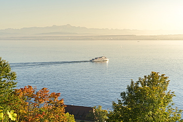 Ferry-boat cruising on Lake Constance, Meersburg, Baden-Wurttemberg, Germany, Europe