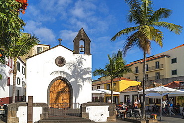 The facade of Corpo Santo Chapel in the Old Town, Funchal, Madeira region, Portugal, Atlantic, Europe