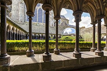 Sculpture in the cloister of Mont Saint-Michel Abbey, UNESCO World Heritage Site, Mont-Saint-Michel, Normandy, France, Europe