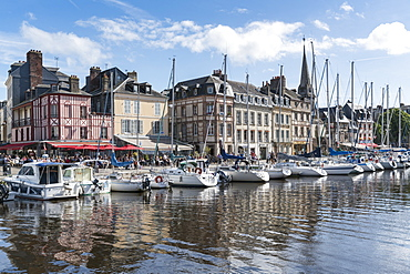 Boats in the harbour, Honfleur, Normandy, France, Europe