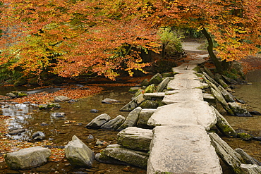 Tarr Steps, a clapper bridge crossing the River Barle on Exmoor, Somerset, England, United Kingdom, Europe - 1255-10