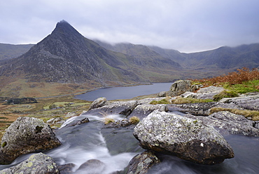 Water cascading down a fall on the Afon Lloer, overlooking the Ogwen Valley and Tryfan in the Glyderau mountain range, Snowdonia, Wales, United Kingdom, Europe - 1255-11