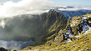 Craig Cau photographed from the peak of Cadair Idris, Snowdonia, during a cloud inversion in winter, Wales, United Kingdom, Europe - 1255-18