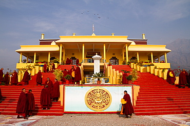 Buddhist monks and the Karmapa temple, Gyuto Tantric Monastery, Dharamsala, Himachal Pradesh, India, Asia