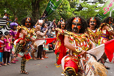 Indonesian men taking part in a carnival celebrating Malang's 101st year anniversary, Malang, East Java, Indonesia, Southeast Asia, Asia
