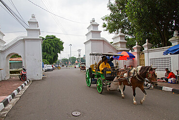 Horse and carriage on the streets of Yogyakarta, Indonesia