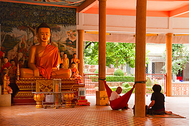 A Buddhist nun in her temple in Siem Reap, Cambodia, Indochina, Southeast Asia, Asia