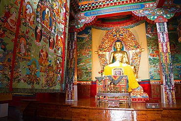 The Buddhist temple of the Norbulingka Tibetan Institute of Tibetan Arts and Culture, Dharamsala, Himachal Pradesh, India, Asia