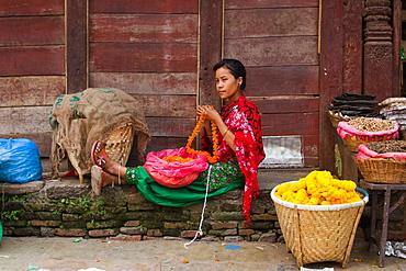 Flower seller of Kathmandu, Nepal, Asia