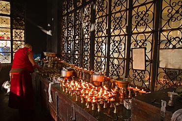 Tibetan Buddhists monks at Losar (Tibetan New Year) in the Dalai Lama Temple, McLeod Ganj, Dharamsala, Himachal Pradesh, India, Asia