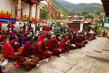 The Memorial Stupa and Buddhist devotees, Thimphu, Bhutan, Asia