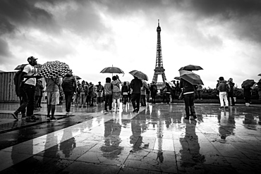 Reflections of tourists in the rain at the Palais De Chaillot looking out towards the Eiffel Tower, Paris, France, Europe