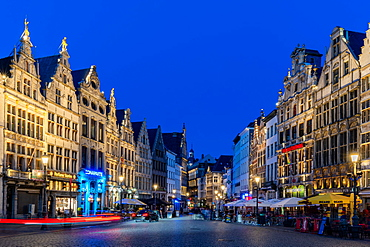 The historic centre of Antwerp during the evening blue hour, Antwerp, Belgium, Europe