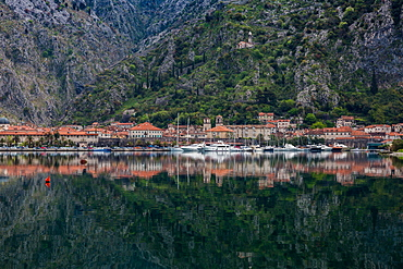 Old Town (stari grad) of Kotor reflected in Kotor Bay, UNESCO World Heritage Site, Montenegro, Europe