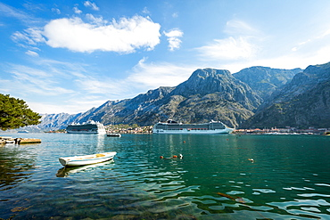 Cruise ships in the Bay of Kotor, UNESCO World Heritage Site, Montenegro, Europe