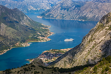Cruise ship in the Bay of Kotor, UNESCO World Heritage Site, Montenegro, Europe