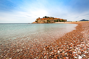The 5-star hotel resort of Aman Sveti Stefan set on a small islet on the Adriatic coast, 6 km from Budva, Montenegro, Europe