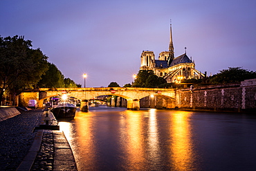 Notre Dame Cathedral and lights reflecting in the River Seine on a wet evening in Paris, France, Europe