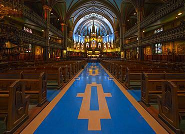 Interior view, Notre Dame Basilica, Montreal, Quebec, Canada, North America