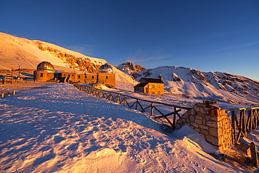 Gran Sasso and Monti della Laga Park, Corno Grande at sunrise in winter, Abruzzo, Italy, Europe
