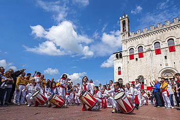 Band in Signoria Square (Piazza Grande) during Ceri Festival, Gubbio, Umbria, Italy, Europe