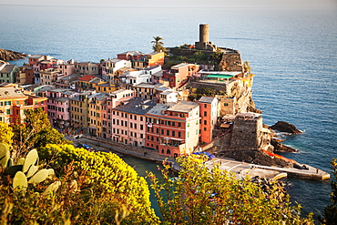 Vernazza in sunset light, Cinque Terre National Park, UNESCO World Heritage Site, Liguria, Italy, Mediterranean, Europe