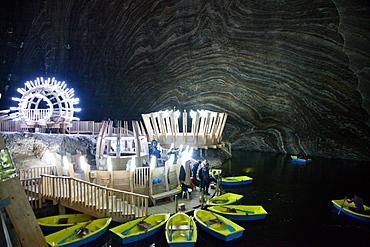 Underground lake in the Salt Mine, Salina Turda museum in Transylvania, Romania, Europe