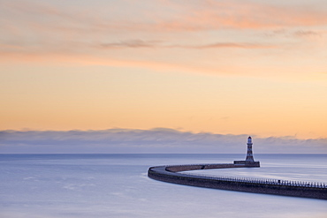 Roker pier and lighthouse at sunrise, Roker, Sunderland, Tyne and Wear, England, United Kingdom, Europe