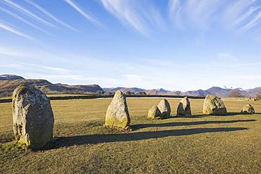 Standing stones at Castlerigg Stone Circle near Keswick, Lake District National Park, UNESCO World Heritage Site, Cumbria, England, United Kingdom, Europe
