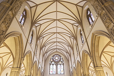 Vaulted ceiling arches and stained glass windows inside Letterkenny Cathedral, County Donegal, Ulster, Republic of Ireland, Europe