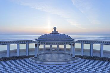 The Spa bandstand and view out to sea at sunrise, South Bay, Scarborough, North Yorkshire, Yorkshire, England, United Kingdom, Europe