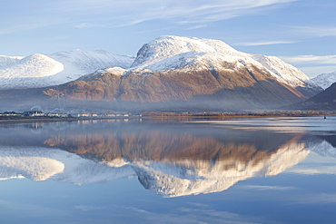 View towards the snow capped peak of Ben Nevis across Loch Linnhe from Corpach near Fort William, Lochaber, Scottish Highlands, Scotland, United Kingdom, Europe