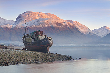 Wreck of old fishing boat and view towards the snow capped peak of Ben Nevis from Loch Linnhe, Lochaber, Scottish Highlands, Scotland, United Kingdom, Europe