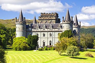 Inveraray Castle in summer sunshine at Inveraray, Argyll and Bute, Highlands, Scotland, United Kingdom, Europe