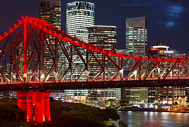 Storey Bridge at dusk, Brisbane, Queensland, Australia, Pacific