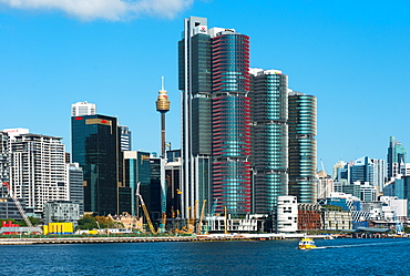 The towers of Barangaroo South resort stand out amongst Sydney city skyline, seen from Darling Harbour, Sydney, New South Wales, Australia, Pacific